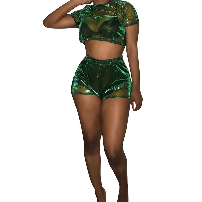 a911c7ba2ee 2019 Mesh Sexy Set Women Summer Short Sleeve Crop Top T Shirt And Shorts Set  Suit Women Tracksuit Club Outfits From Candice98, $30.55 | DHgate.Com