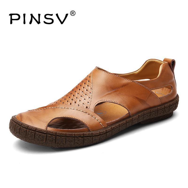 9de090d3311 PINSV Men Sandals Split Leather Sandals Men Shoes Summer Sandalias Hombre  Beach Clogs Slides Chausson Homme Saltwater Sandals Designer Shoes From  Cutemerry