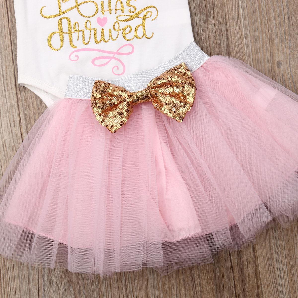 Baby-Kleidung Tutu Tulle Bogen-Rosa-Röcke Buchstabedruck O-Ansatz Kurzarm-Body Kinder Outfits