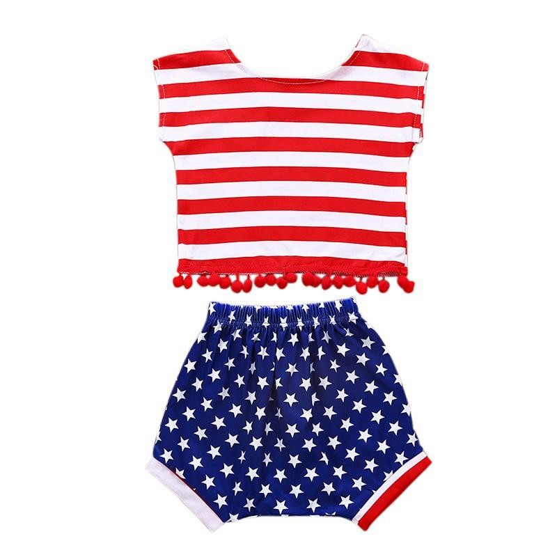 2T Toddler Girl Shorts Set Summer Baby Girls Casual Sleeveless Striped Print Vest Tops With Tassel+Star Shorts Suits Costume Set