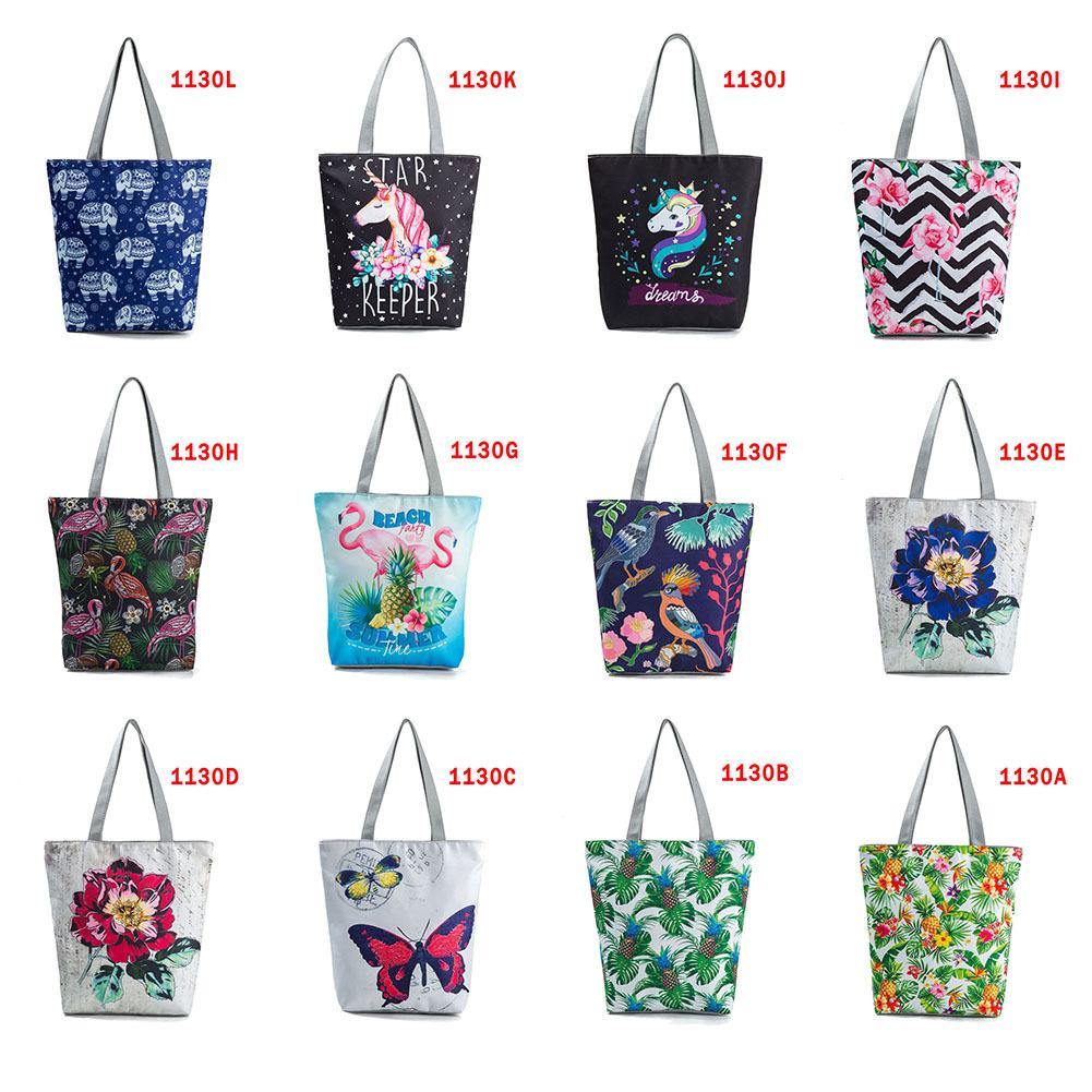 Multicolor Women Female Casual Floral Animal Printed Canvas Tote Single Shopping Bag Large Capacity Beach Travel Bags Fa$3