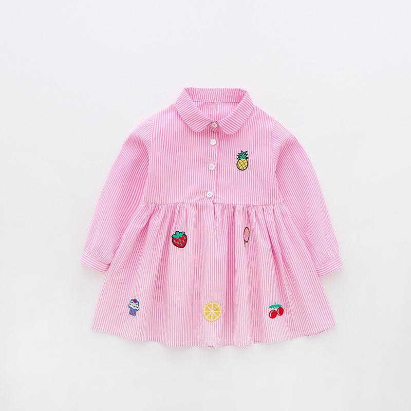 Çizgili Bebek Kız Elbise Çevrimiçi Yeni Moda Gömlek Elbise Cottom Sevimli Uzun Kollu Elbise 18081701