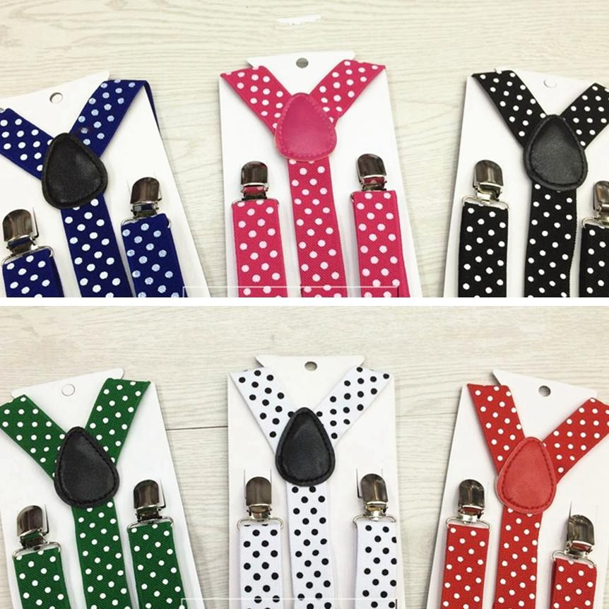 Children Adjustable Suspender Boy Girls Clip-on Y Back Elastic Dots Suspenders Kids Braces Baby Straps Christmas Gift TTA1085