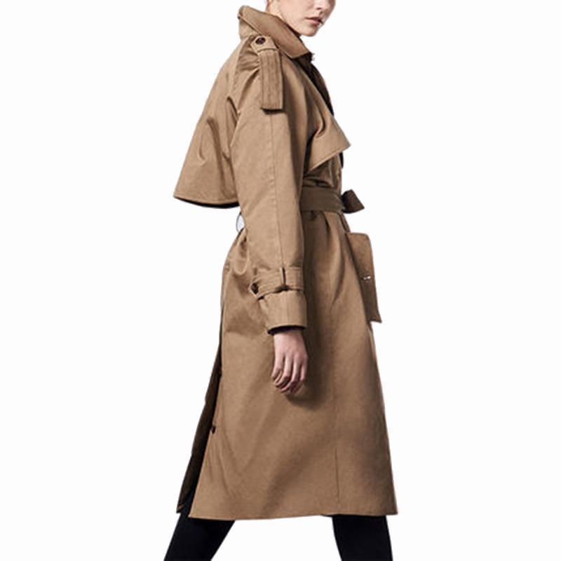 Lx2649 Longues Long Trench Coat Femme 2019 Mode Luxe Pour Manches Européenne Rouge Outwear Cadeau Manteau De À Femmes Kaki yfb67Yg