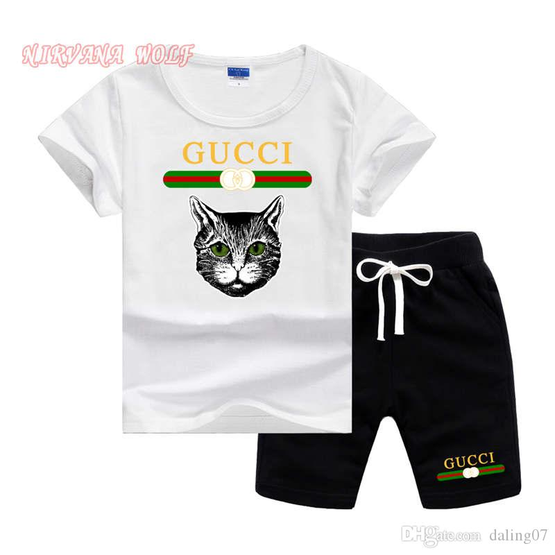 GC Cat Logo Luxury Designer fashion boy suit Toddler Kids Baby Boy Outfits black hot Clothes Cat Head printed T-shirt Top Pants 2pcs