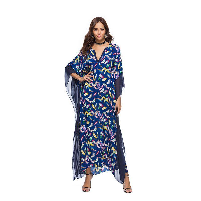 Cheap Women Half Sleeve Chiffon Maxi Dress Best Long Sleeve Maxi Dress  Turkish 88f4f7ed8289