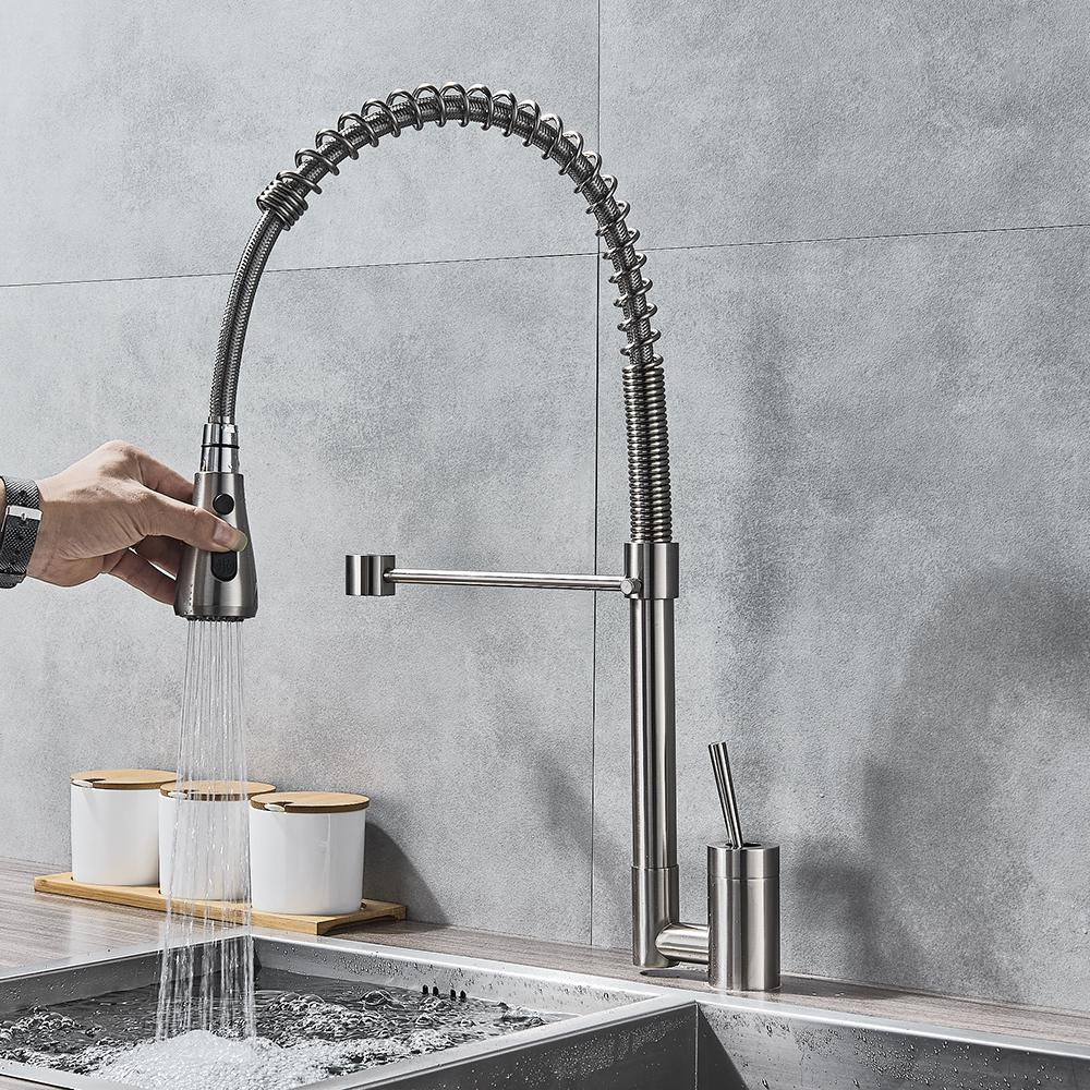 Brushed Nickel Kitchen Faucet Single Handle Bathroom Faucet Hot and Cold  Water Pull Down Rotating Spout Deck Mounted Hot Col