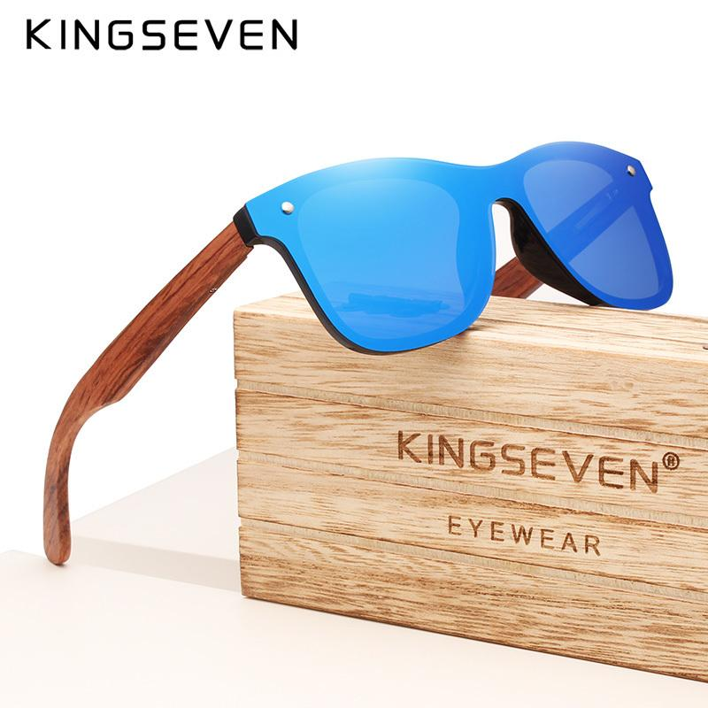 Kingseven Brand 2019 Wooden Vintage Sunglasses Men Polarized Flat Lens Rimless Square Frame Women Sun Glasses Oculos Gafas MX190723