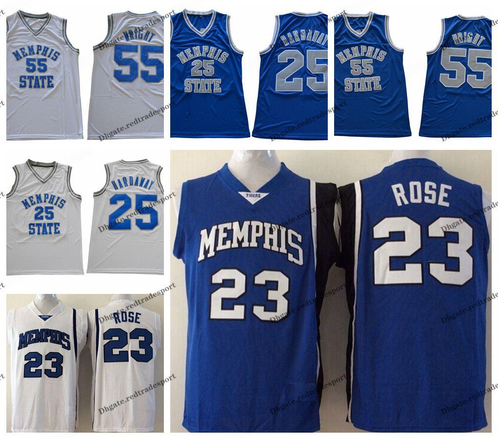 huge discount 8d83e 3539c Mens Memphis Tigers 23 Derrick Rose 25 Penny Hardaway 55 Lorenzen Wright  College Basketball Jerseys Vintage Memphis State Stitched Shirt