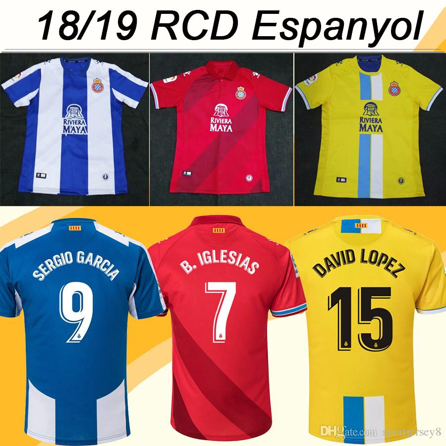 8e7182c576282 2019 18 19 RCD Espanyol M.HERMOSO Soccer Jerseys DAVID LOPEZ B.IGLESIAS LEO  BAPTISTAO Home Away Men Football Shirts DARDER Camisetas De Futbol From ...