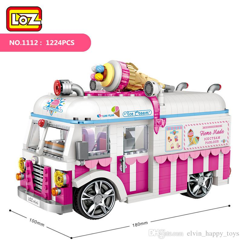 LOZ 1112 Small Particle Block Sweet Ice Cream Mini Ice Cream Car Model Assembly Toy Children Bricks Toy