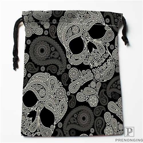 Custom Printing Black Skull (1) Drawstring Shopping Bags Travel Storage Pouch Swim Hiking Toy Bag Unisex Multi Size18-12-31-14