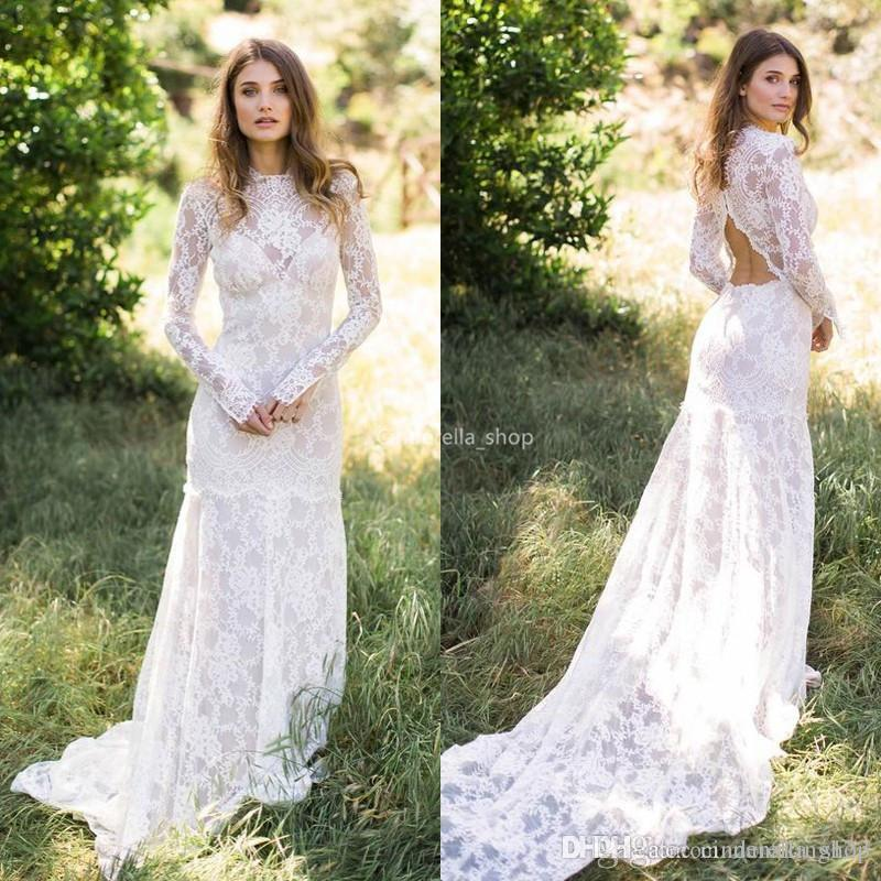 Bohemian Lace Long Sleeves Mermaid Wedding Dresses Jewel Beach Country Wedding Dress Bridal Gowns Hollow Back Sweep Train robes de mariée