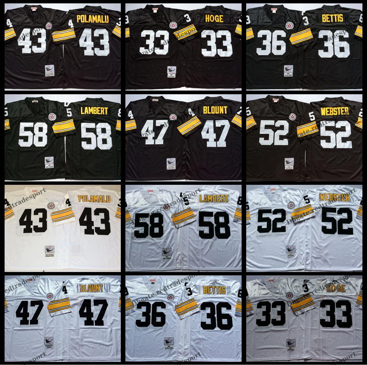 be7c269044c 2019 Vintage Pittsburgh 43 Troy Polamalu Steelers 33 Merril Hoge 36 Jerome  Bettis 47 Mel Blount 52 Mike Webster 58 Jack Lambert Football Jerseys From  ...