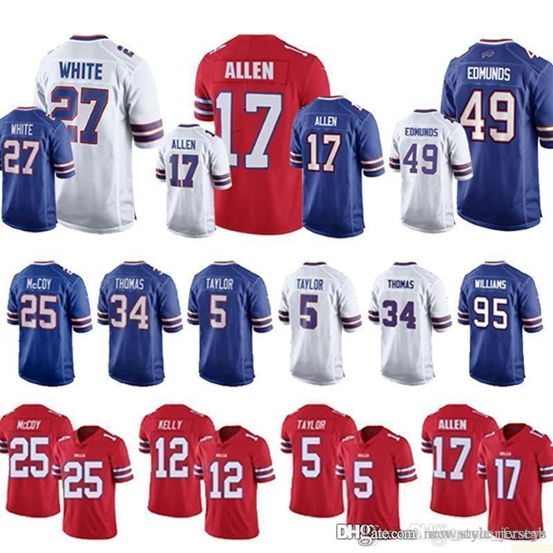 official photos 2fd8d 3cbb9 Buffalo 17 Josh Allen Bills jerseys Allen jersey 27 Tre'Davious Blanc 23  Micah Hyde 49 Tremaine Edmunds 99 Marcell Dareus