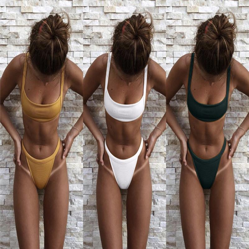 156e5cc407a6a 2019 Women Sexy High Waist Bikini 2018 Summer Hot Swimwear Solid 3 Colour  Swimsuit HIgh Quality Push Up Bathingsuit Maillot De Bain From  Weiwenbin678