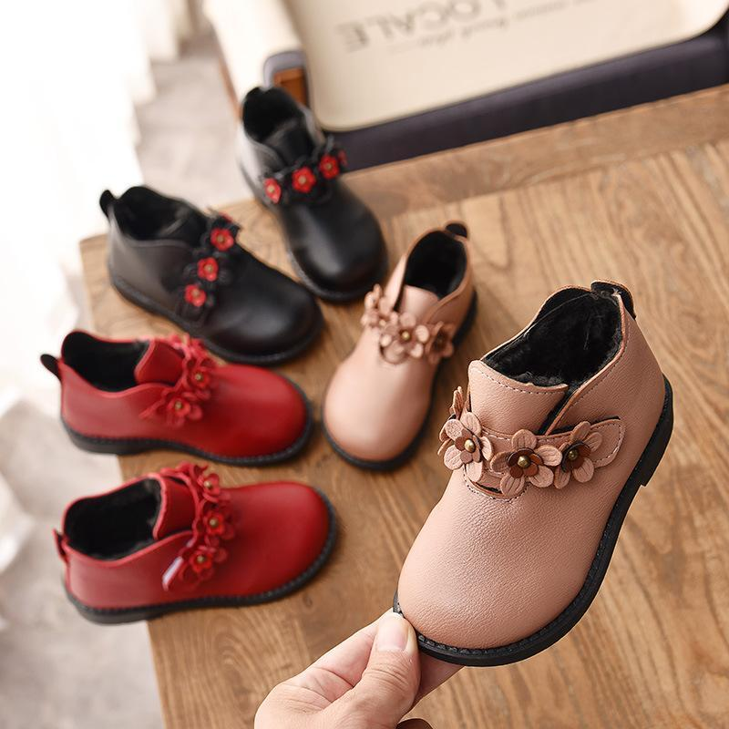 Girl Snow Boots 2018 Winter Children Martin Boots Plush Warm Flower Kids Princess Boots Good quality Student Outdoor Shoes