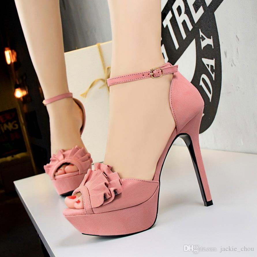 f827cc6ab9 Sexy2019 Sweet Ladies Ankle Strap Sandals Toe Bowtie Suede High Heels  Summer Sandal Shoes Red Black Pink Color For Party 2760-2