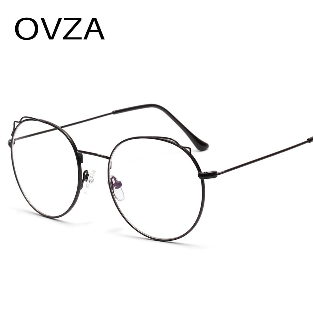 e2d166a1700 2019 OVZA 2019 New Oval Retro Glasses Frame Women Clear Lens Glasses Metal  Thin Frame Spectacles S7038 From Harrieta