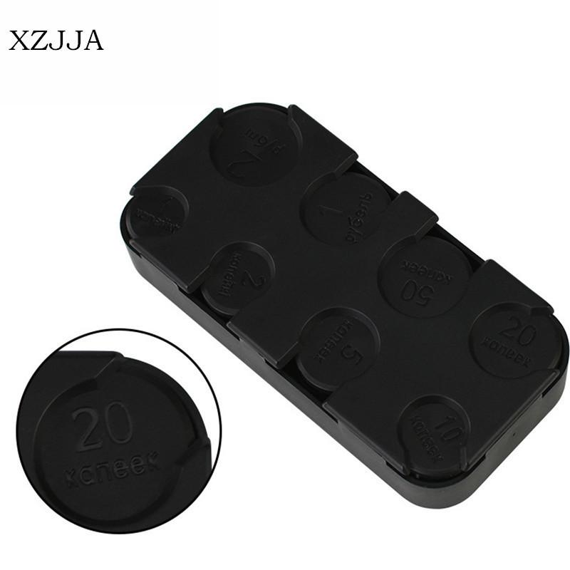 XZJJA Black Rectangle Euro Dollar Coin Dispenser Plastic Coin Purse Holders Storage Box Car On Board Coin Pocket Organizer C18122201 Gifts Novelty Good ...