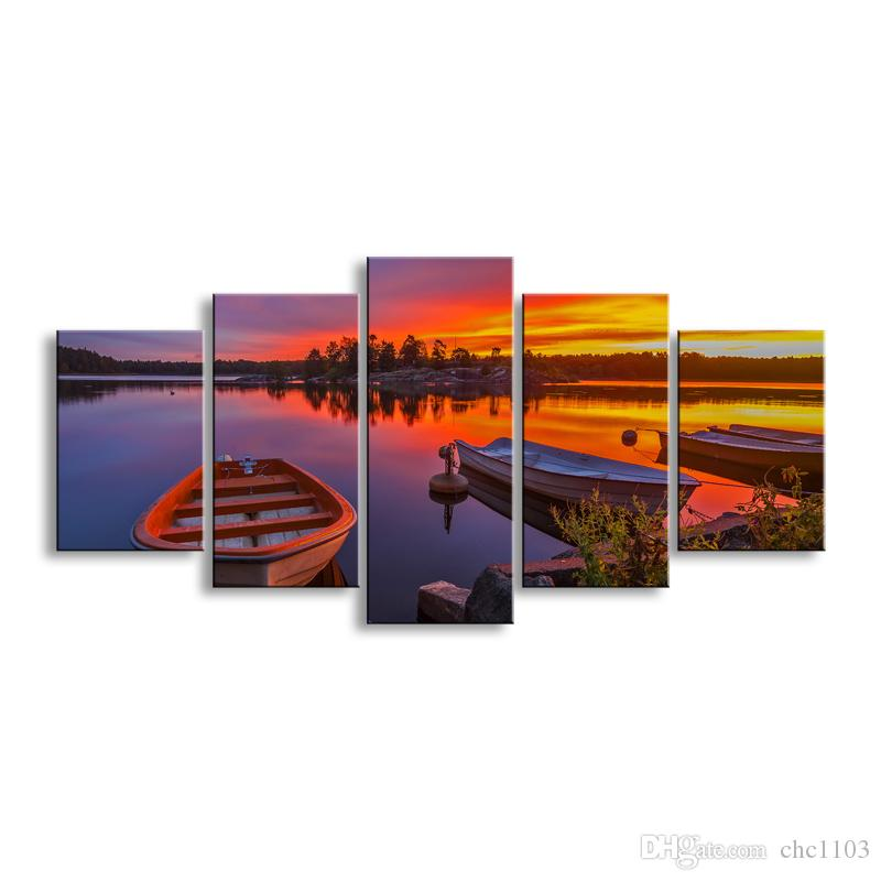 5 pieces high-definition print Sunrises and sunsets canvas prints painting poster and wall art living room picture RCRL5-003
