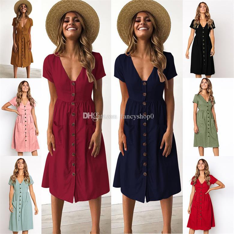 d2f3b034faa 2019 Spring Summer Short Sleeve V Neck Button Casual Dresses Women S Fashion  Skirts Holiday Beach Dress One Piece Pocket Dresses Dresses Floral Short To  ...