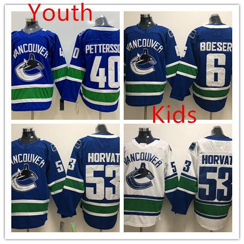 Youth Vancouver Canucks  40 Elias Pettersson Hockey Jersey Kids Stitched  6  Brock Boeser  53 Bo Horvat Vancouver Canucks Jersey UK 2019 From Xt23518 396d86095