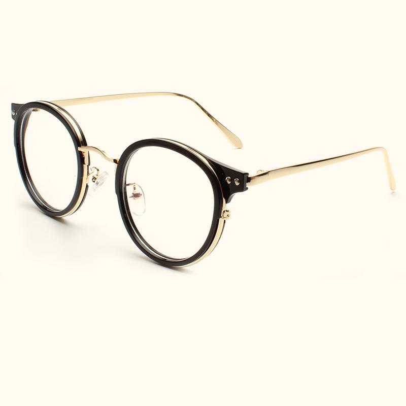 5d082460d404 2019 Retro Imitation Wood Grain Round Glasses Frame Men And Women Models  Art Glasses Frame Korean Personality Decorative Flat Mirror.