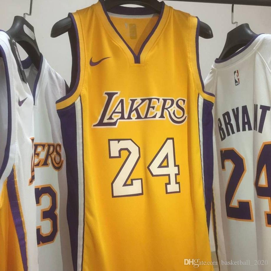 low priced ef683 b42ed 2020 New Mens Laker 24# Kobe Bryant Home Yellow Swingman Basketball Jersey  Name And Number Hot pressing printed Authentic US Size XXS-XXL