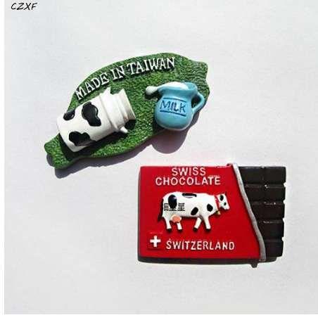 1 Pcs Set Cute Kawaii Swiss World Tour Souvenir Milk Chocolate Dairy Cow Stereo Resin Fridge Magnet Stickers