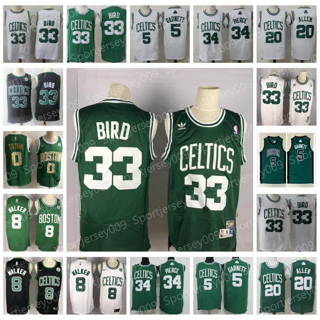 new product e3431 421da Vintage Boston 5 Kevin Garnett Jersey 20 Ray Allen Paul 34 Pierce Larry 33  Bird Jersey 8 Kemba Walker Jayson 0 Tatum Basketball Jerseys