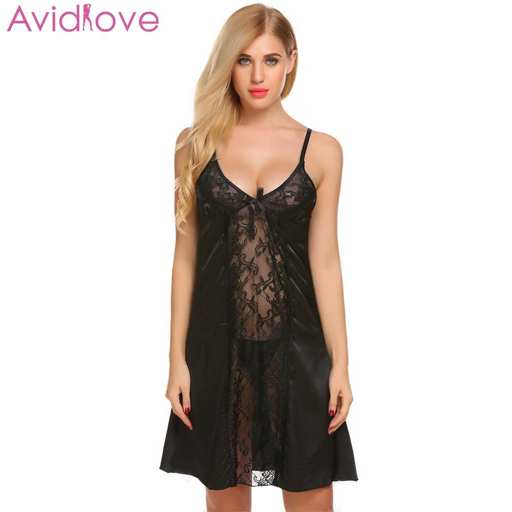 41737564f8 Avidlove Women Sexy Lingerie EroticLace V-Neck Satin Sexy Clothes Nightgown  Plus Size Babydoll Chemise Summer Sleepwear Online with  30.99 Piece on ...