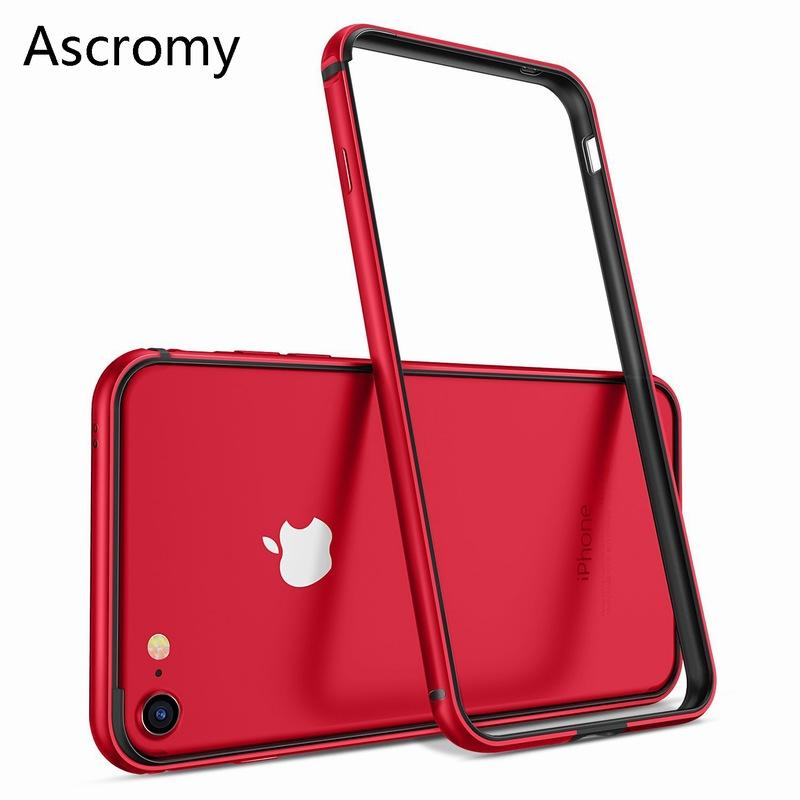 1097d33fa72 Ascromy For IPhone 8 Case Aluminum TPU Silicone Hybrid Shockproof Bumper  Case For IPhone 7 Plus 8 8Plus 7Plus Metal Frame Bumper Clear Cell Phone  Cases ...