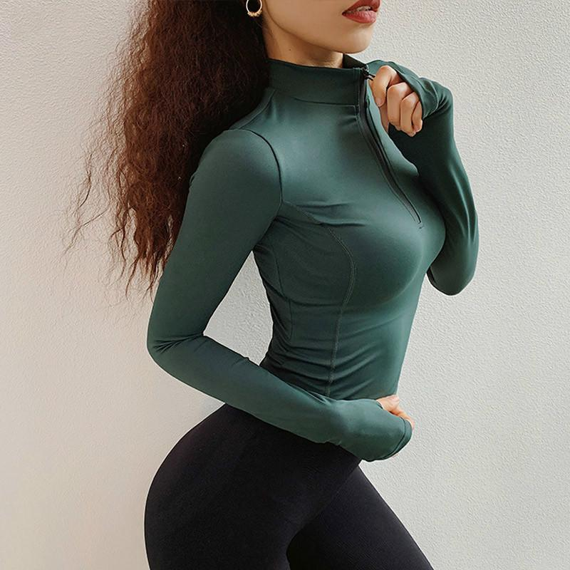 1/2 Zip Workout Crop Tops For Women Long Sleeve Yoga Shirts Workout Tee Running Shirt Track Jacket Gym Sports T Shirt Sweatshirt