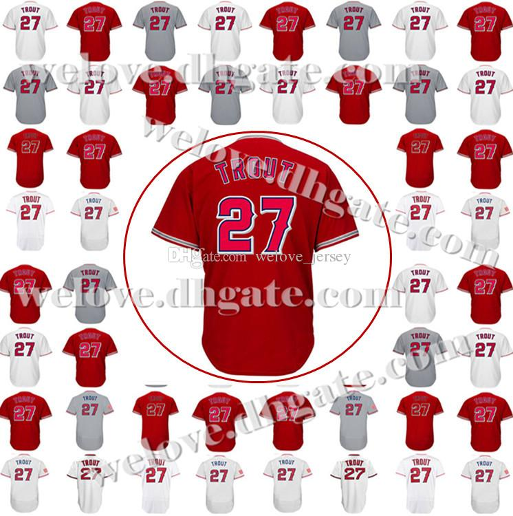 be904dd5907 Cheap Sale Men s 27 Mike Trout 17 Shohei Ohtani Baseball Jersey Mike Trout  Embroidery Stitched Top quality Jerseys Fast Free Shipping