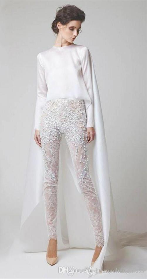 Sexy White Evening Dresses Two Pieces Chiffon Lace Pearl Trousers See Through Long Sleeves Elio Abou Fayssal Evening Gowns With Jacket Prom