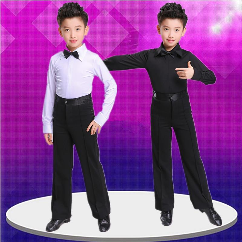 2019 Latin Dance Pants Mens for Kids White Black Latin Dance Shirts Men Clothes Men Boy Set Dancewear