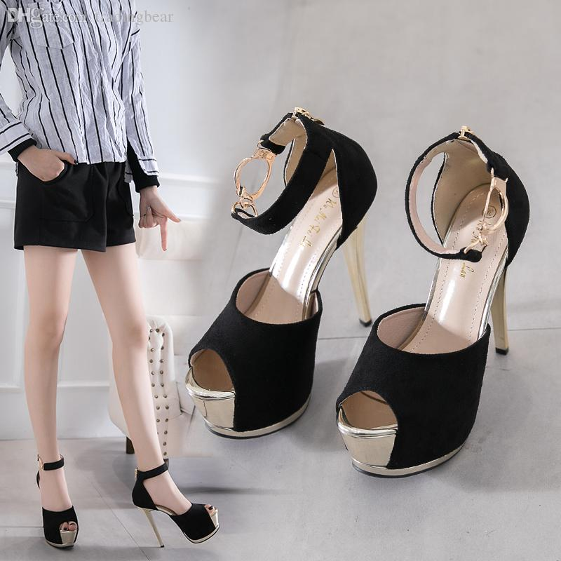 Sexy designer slides black gold round buckle high heels peep toe platform pumps women gladiator shoes Size 34 To 39