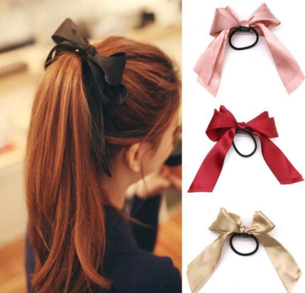 Hair Band Rope Women Rubber Bands Tiara Satin Ribbon Bow Scrunchie Ponytail Holder Gum for Hair Accessories Elastic