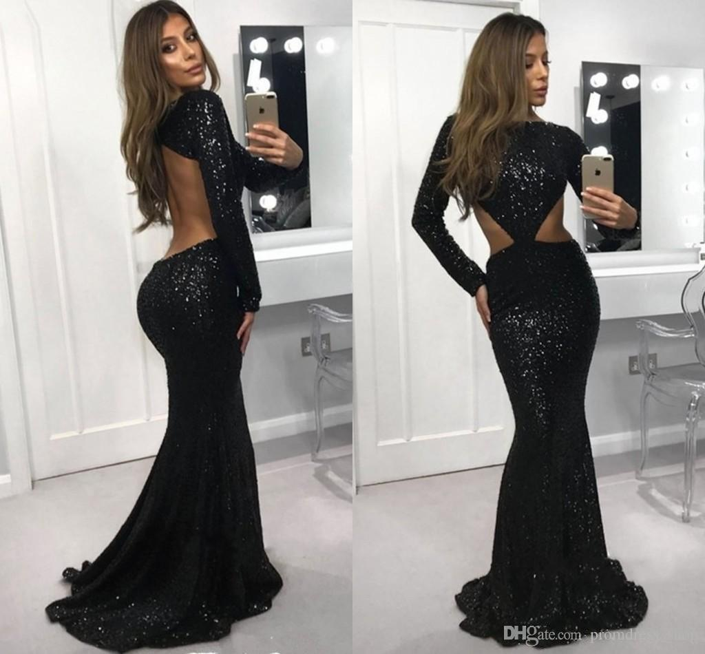 020120e9c2 New Sexy Black Sequins Evening Dresses 2019 Mermaid Long Sleeve Formal  Dresses Special Occasion Dresses Long Skirt Bateau Cutaway Sides Red Evening  Dress ...