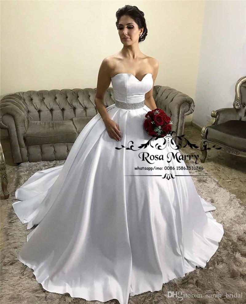 93bfb052bd5 New Fashion Ball Gown Wedding Dresses 2019 Corset Sweetheart Crystals Sash Plus  Size Cheap Satin Dubai Arabic Vestido De Novia Bridal Gowns Green Wedding  ...
