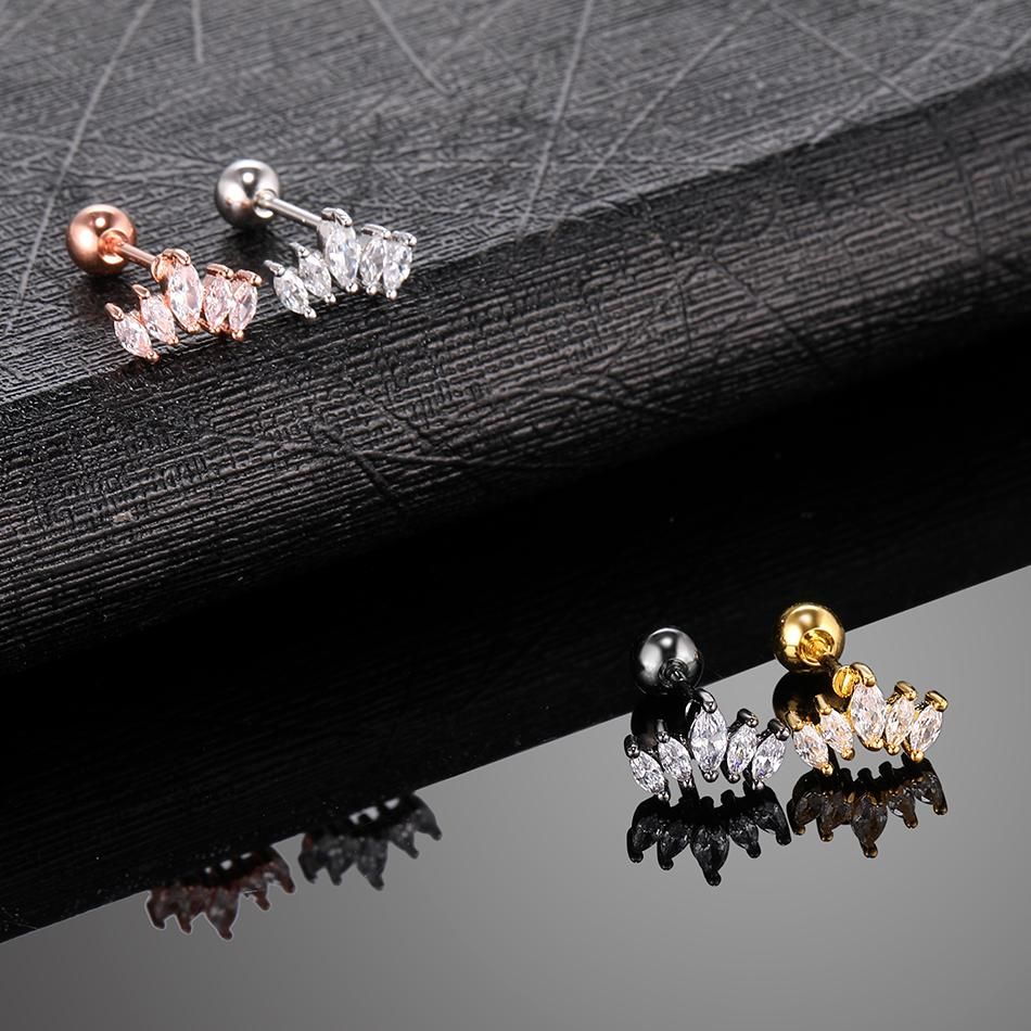 Simple Dainty Tragus Piercing Earring Helix Gold CZ Crown Cartilage Stud Earrings Crystal Conch Daith Piercings Jewelry 20G