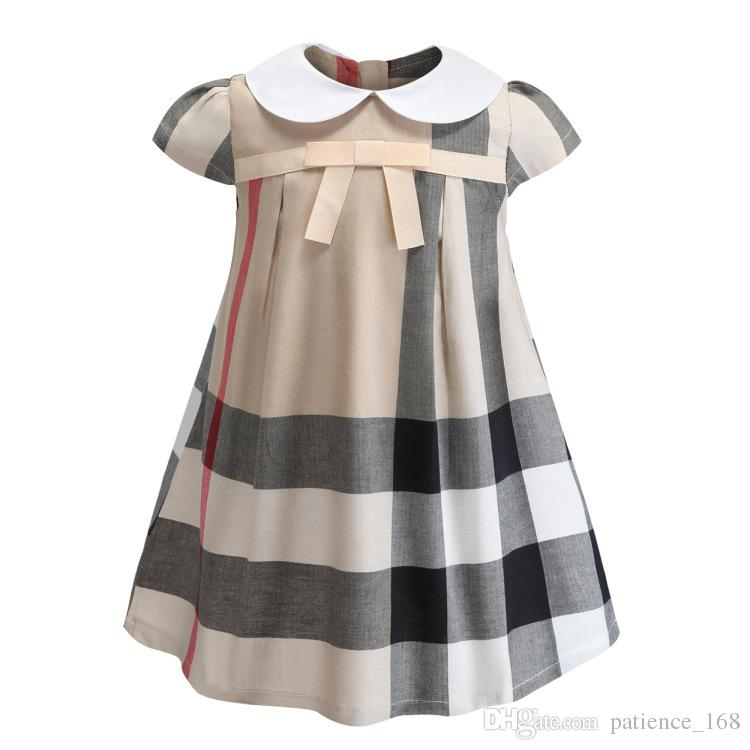 girls dress 2019 INS summer new styles European and American styles girls Lapel short sleeve high quality cotton bowknot plaid dress 3 color