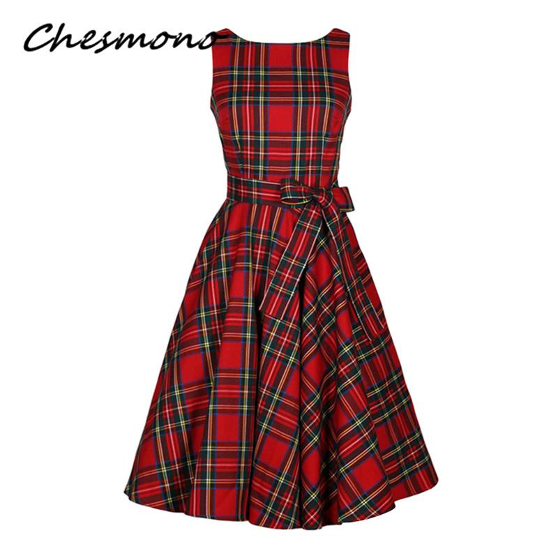Acquista Donne O Collo Rosso Tartan Controlli Plaid Dress Retro Vintage Anni   50 Anni  60 Pin Up Rockabilly Swing Abiti Con Fascia Hepburn Robe Vestidos  ... 4e14e66c6ed5