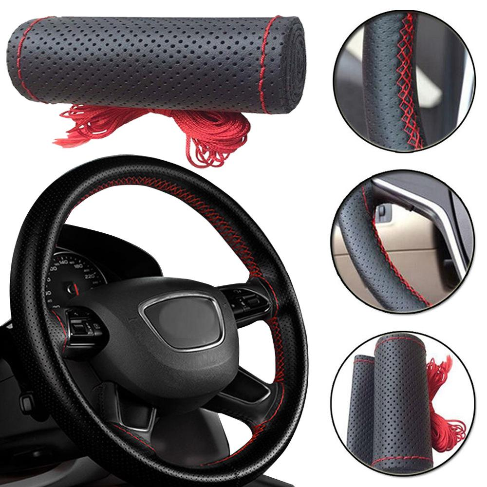 Large size Pu Leather Car Steering Wheel Cover plus wheel hubs for different cars 36 38 40 42 45 47 50cm for trunk bus