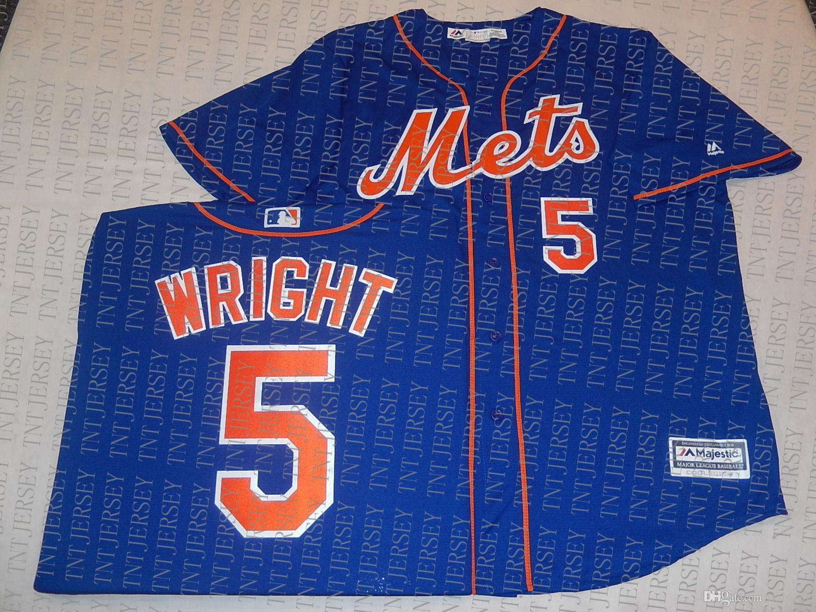 100% embroidery custom DAVID WRIGHT Jerseys New Stitch customize any number name MEN Jerseys XS-5XL NCAA JERSEY