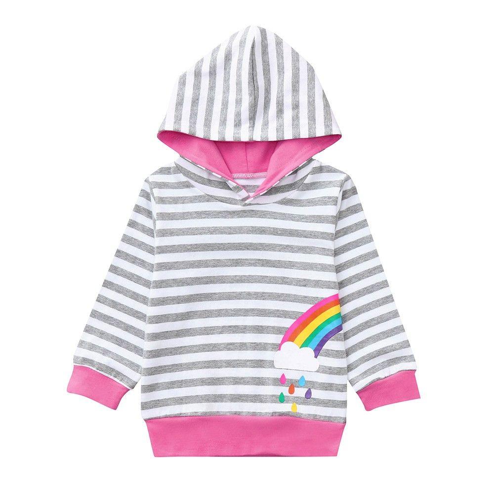 62b9170a3b31 Casual Pullover Kids Boys Girls Sister Hooded Striped Rainbow Print ...