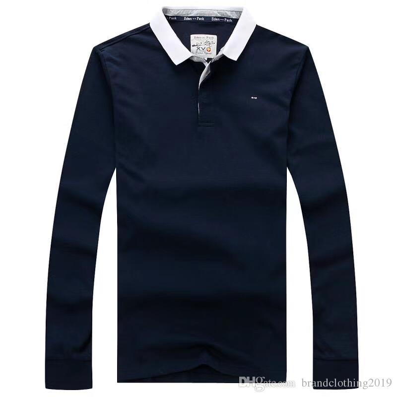 eeac9f58b Compre Marca De Luxo Eden Park Designer Dos Homens Camisas Polo W002 França  Moda Casual Estilo 100% Algodão De Manga Longa Outono Laple T T Shirt Topos  De ...