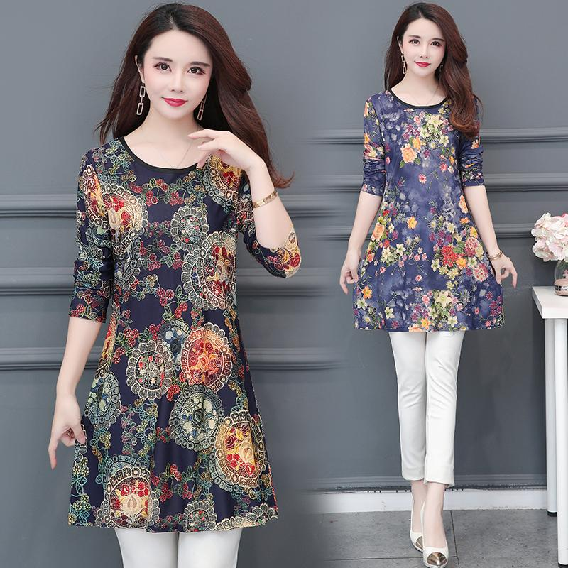 f85afe8c94 2019 Spring New Women Dresses Casual Floral Print Plus Size Dresses O-neck  A-line Long Sleeve Dress L-5XL Women Dresses Plus Size Dresses Long Sleeve  Dress ...