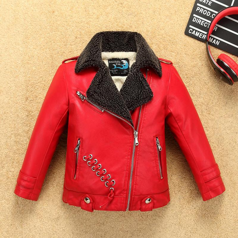 f65758010284 Thermal Faux Lamb Fur Boys Girls Leather Jacket For Autumn Winter ...